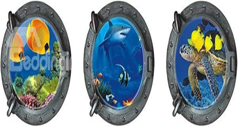 Amazing Seaworld Through Portholes 3D Wall Sticker