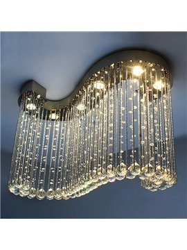 Amazing Modern S-Shaped Curtain Style Crystal Flush Mount