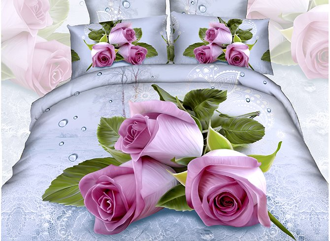 Pretty Romantic Rose 2-Piece Cotton Pillow Cases