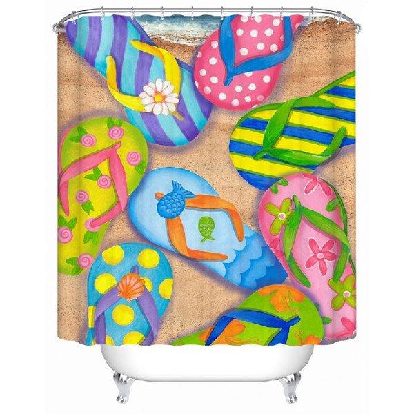 Unique Colorful Beach Sandal Print Shower Curtain