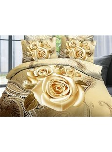 Luxury Golden Rose Printing 4-Piece Duvet Cover Sets
