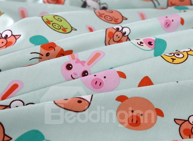 Super Lovely Animal Faces Pattern Cotton 4-Piece Duvet Cover Sets