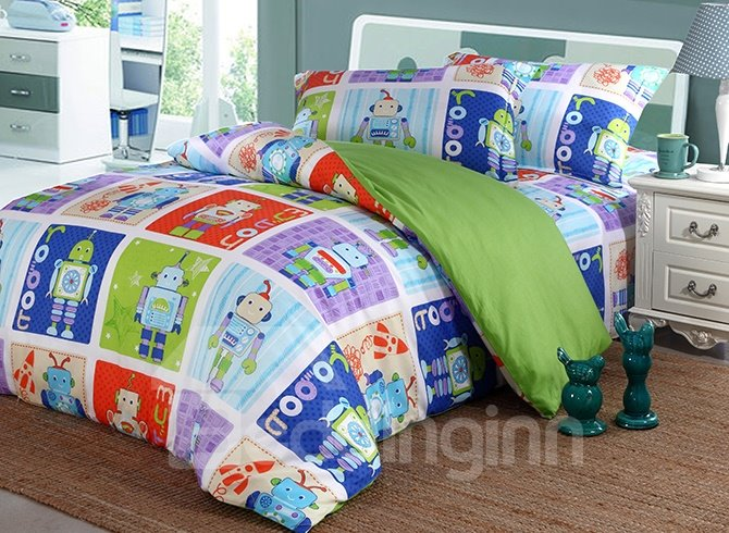 Cool Robot Pattern 4-Piece 100% Cotton Duvet Cover Sets