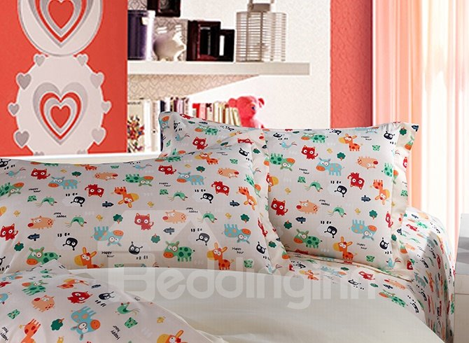 Lovely Colorful Animals Pattern Kids High Quality Cotton 4-Piece Duvet Cover Sets