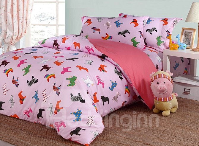 Lovely Little Unicorn Pattern Cotton Kids 4-Piece Duvet Cover Sets