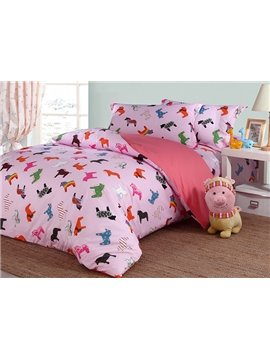 Lovely Little Unicorn Pattern Cotton Kids 4-Piece Duvet Cover Sets