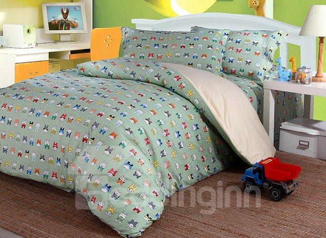 Super Cute Colorful Rabbits 4-Piece Cotton Duvet Cover Sets