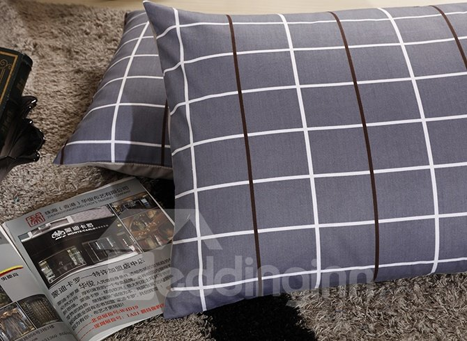 Contracted Style Checkered Printing Cotton 4-Piece Duvet Cover Sets