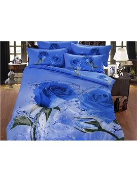 Graceful Blue Rose in Water Printing 5-Piece Comforter Sets