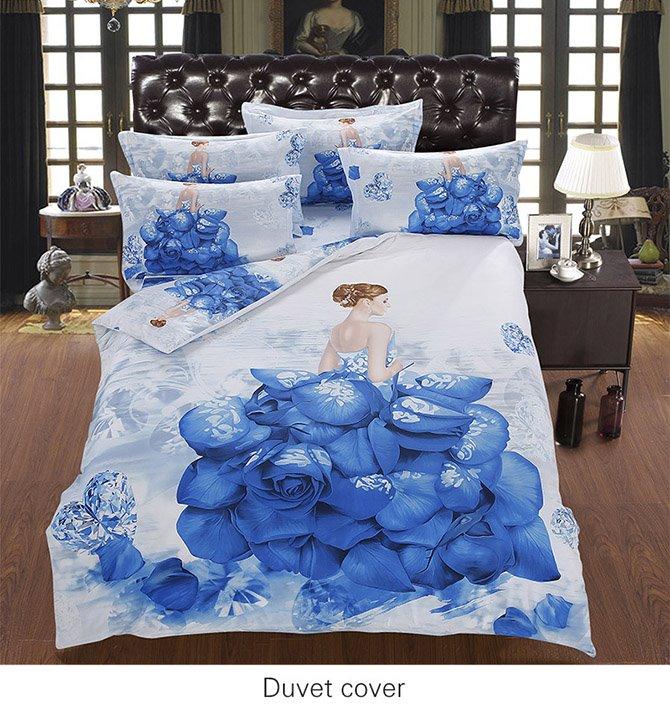 Artistic Floral Girl Cotton 5-Piece Comforter Sets
