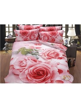 Romantic Pink Rose Printing Fluffy Cotton 5-Piece Comforter Sets