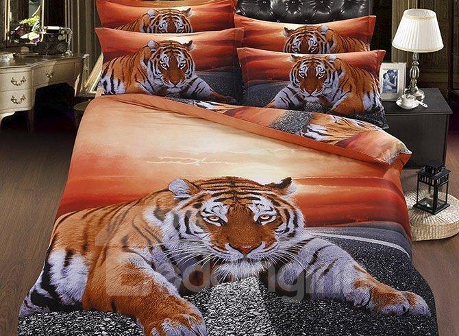 Chic Lying Tiger under Twilight 5-Piece Cotton Comforter Sets