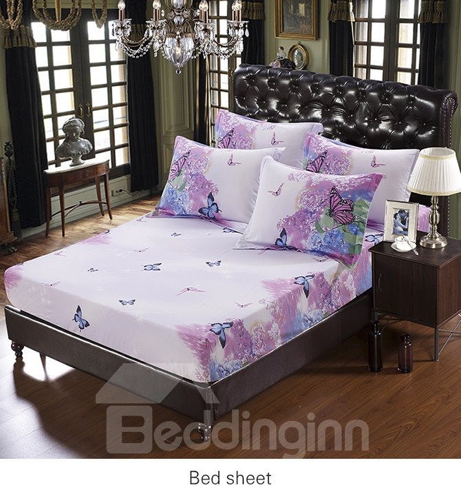 Artistic Romantic Flower Butterflies Printing 5-Piece Cotton Comforter Sets