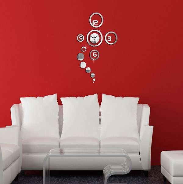 Creative Original 3D Acrylic Mirror Wall Sticker Wall Clock