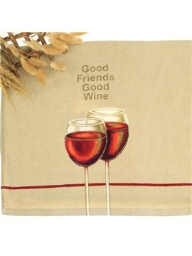 Creative Red Wine Print Soft Cotton Face Towel