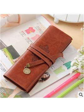 Ordinary Fashion Style Retro Pattern  PU Leather Pencil Bag