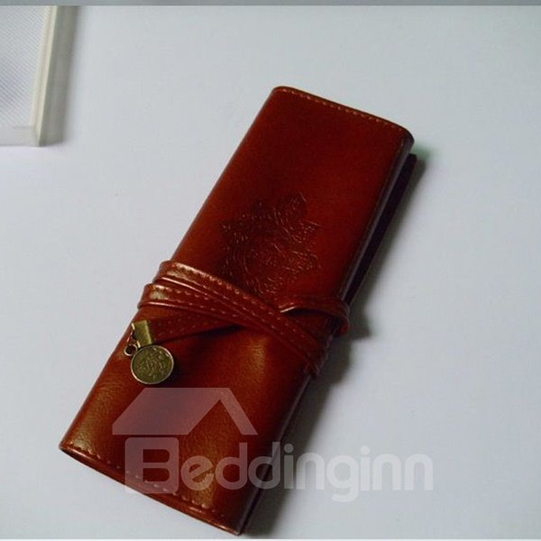 Ordinary Fashion Style Retro Pattern  PU Leather Pencil Bag
