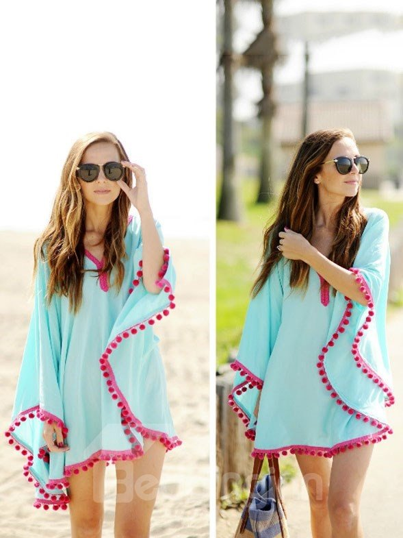 Wonderful Solid Color Tassel Hem Loose Cover Ups