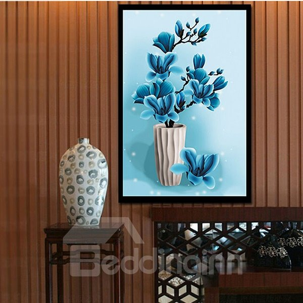 Fantastic Graceful Blue Flowers 1-Piece DIY Diamond Sticker