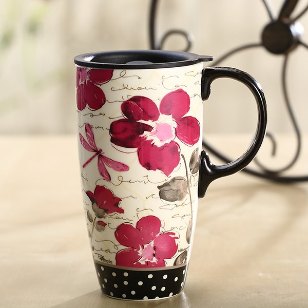 Gorgeous Flower Pattern Ceramic Versatile Sealed Lid Travel Coffee Mug