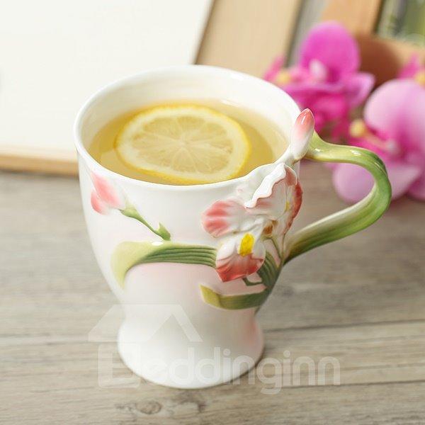 Creative Lovely 3D Iris Fleur de Lis Ceramic Versatile Coffee Mug
