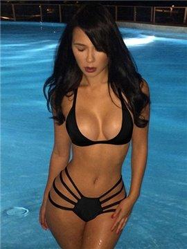 Sexy Strappy Solid Color Halter Neck Sexy Bikini