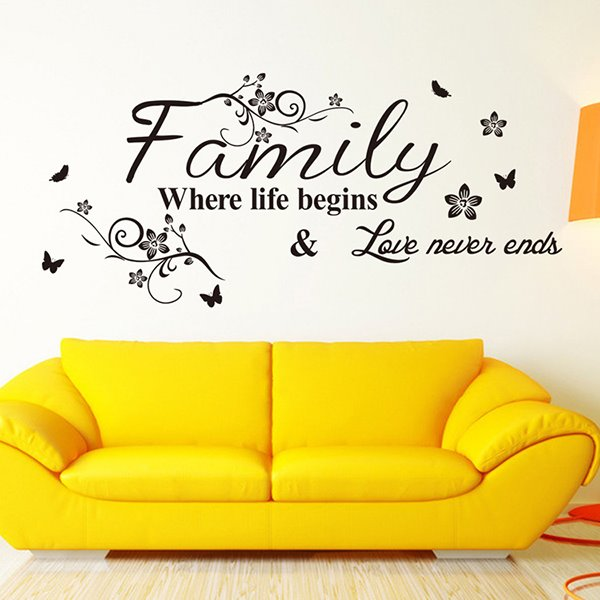 Inspiring Words and Quotes Love Never End in Family Wall Sticker