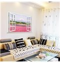 Romantic Natural Scenery Window View Pink Flower Sea 3D Wall Sticker