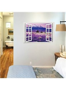 Dreamy Natural Scenery Window View  Lavender Sea 3D Wall Sticker