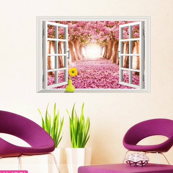 Dreamy Natural Scenery Window View  Cherry Blossom Path 3D Wall Sticker