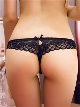 Solid Color Lace Back Women's Sexy Panties