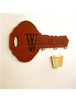 Creative Key-Shaped Welcome Home Key Holder Wall Hook