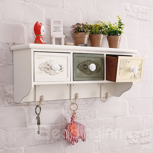 Versatile Functional Wall Shelf with Storage Drawer Wall Hook