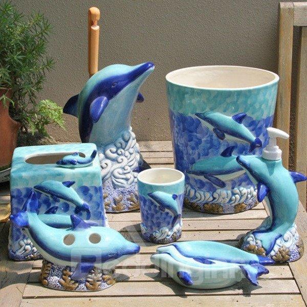 Vivid Creative Design Bright Color Dolphin 7 Pieces Bath