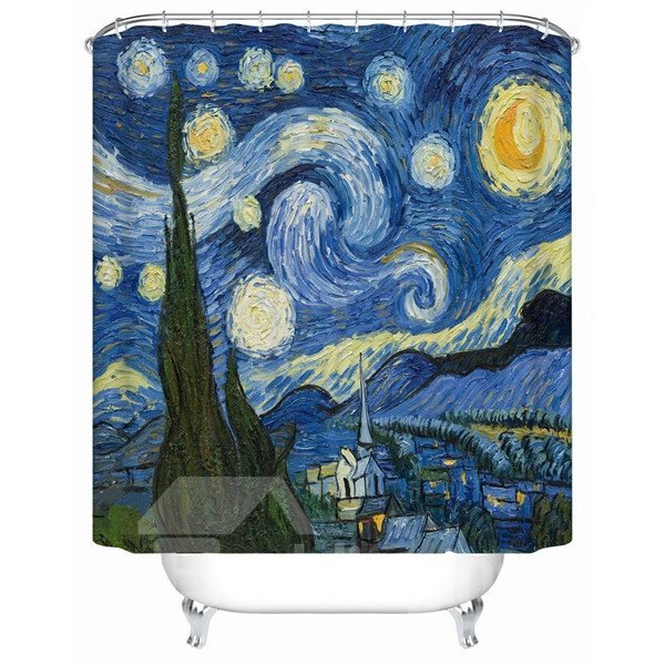Creative Famous Starry Sky Oil Painting Shower Curtain