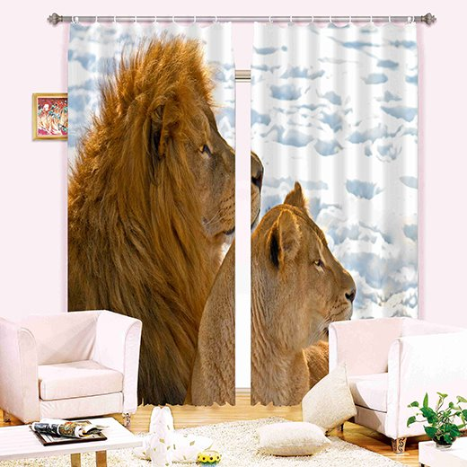 Amazing 3D Lions Energy Saving Curtain