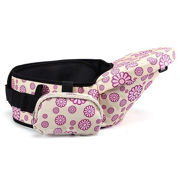 Bouncy Lovely Flowers Pattern Baby Hip Seat with Pocket