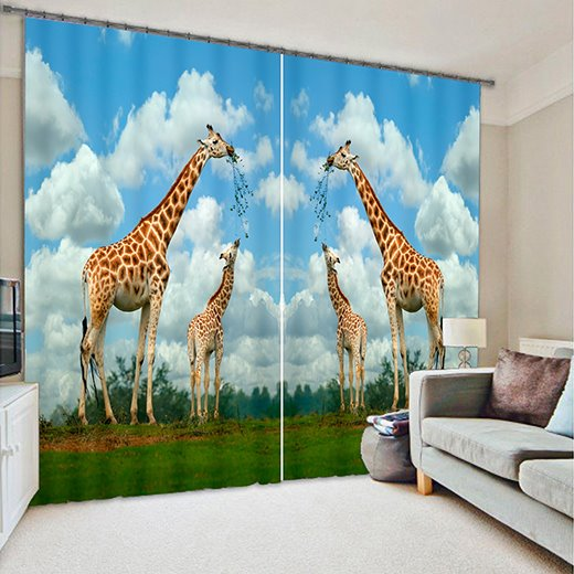 Vvid 3D Giraffe Light Blocking Curtain
