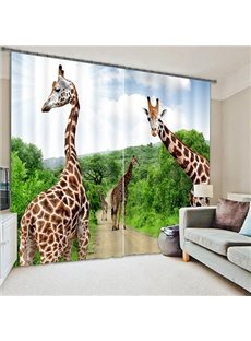 3D Giraffe Polyester Light Blocking Curtain