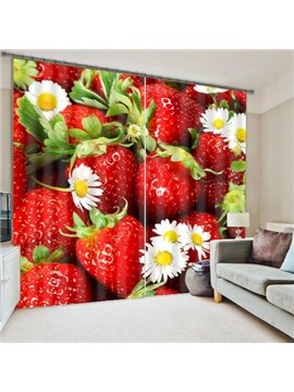 Vivid 3D Strawberry Polyester Light Blocking Curtain