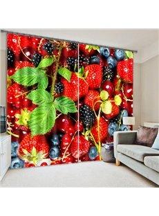 3D Strawberry Polyester Energy Saving Curtain
