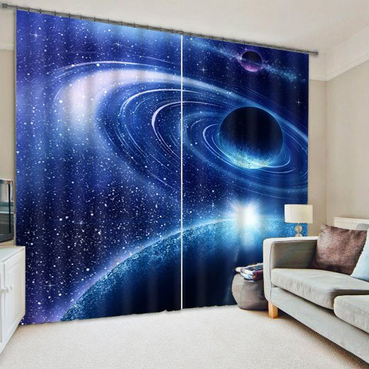 Amazing 3D Galaxy Reactive Dye Curtain