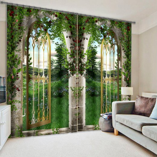Natural Scenery Outside the Door Print 3D Curtain