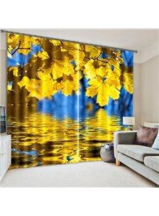 Shining Golden Leaves Light Blocking 3D Curtain
