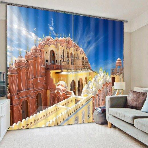 3D Castle Print Blackout Living Room&Bedroom Curtain