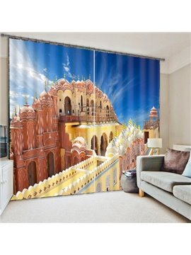 3D Castle Print Blackout Living Room&Bedroom Curtain