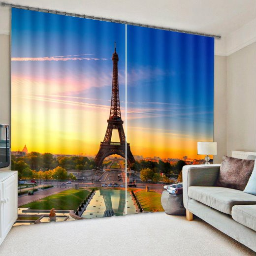 3D Tower Print Blackout Living Room&Bedroom Curtain