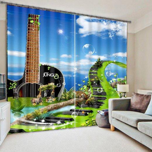 Guitar Shape Scenery Blackout 3D Curtain