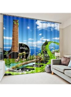 Guitar Shape Scenery Blackout 3D Curtain
