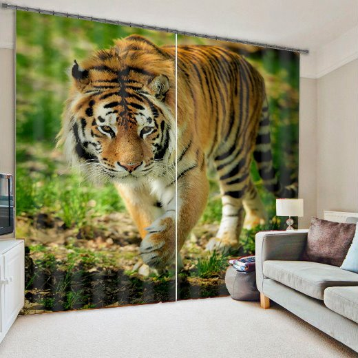 3D Walking Tiger Living Room&Bedroom Blackout Curtain